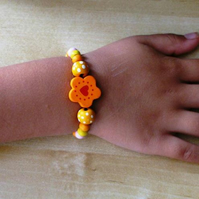 sweet girl's flower and heart spotty bracelet