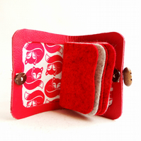 Needle Case  -Fox Fabric -  Sewing Accessory - Red Leather Needle Book
