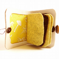 Needle Case - Toadstool Fabric -  Sewing Accessory - White Leather Needle Book