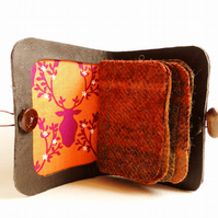 Needle Case - Brown Leather - Stags Head Fabric - Needle Book - Sewing Gift