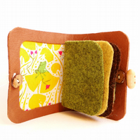 Needle Case - Frog on l Fabric -  Sewing Accessory - Tan Leather Needle Book