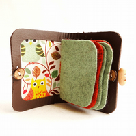 Needle Case - Beige Leather - Owl Fabric - Needle Book - Sewing Gift