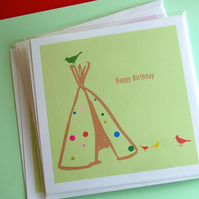 Tipi in the garden - greetings card