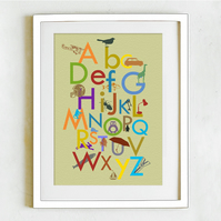 Limited Edition Boy's Alphabet Print - Mushy peas and bright colours