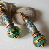 Larch Lustre -  Paper, Metal and Glass Green Bead Earrings