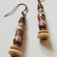 Burnished Brick – paper, copper and bead earrings