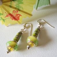 Lemon and Lime – paper, bead and sterling silver earrings