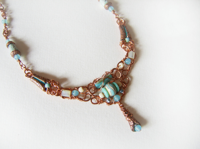 Miranda – shell, metal clay and beaded wirework necklace