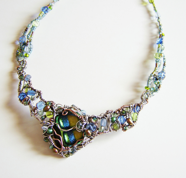 Raindance Necklace – wire wrapped foiled cabochon