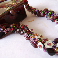 'Flowers and Berries' - Red kumihimo braid necklace with shell flowers