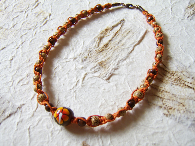 'Mandarin' - Orange flower macrame choker necklace with wood beads