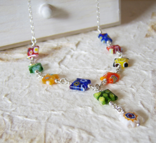 'Flower Power' – multicoloured glass bead necklace with sterling silver chain