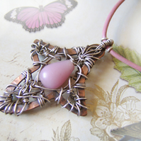 'Rosy Leaf' – Sterling silver and copper pendant on pink leather thong