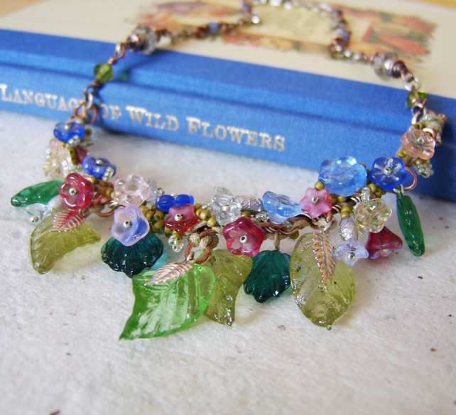 'Wildflowers' Garland style bead necklace with flowers and leaves