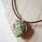 'Ancient Arrow' green semi-precious stone and sterling silver unisex necklace