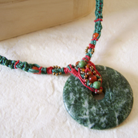 Moss agate and carnelian macrame necklace with red and green cord