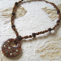 'Autumn seeds' – brown and orange copper and resin pendant with macrame cord