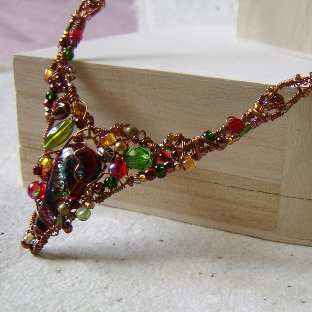 Ivy Lustre - copper wire wrapped and beaded necklace