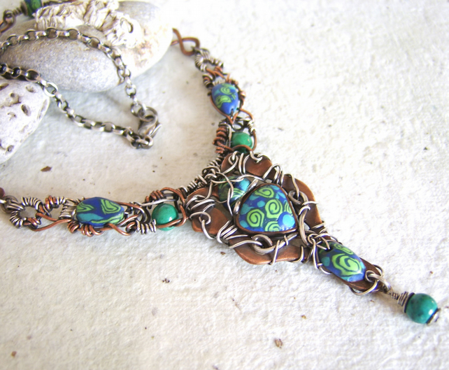 'Mermaid' - Blue & green polymer clay and copper necklace with silver wire wrap