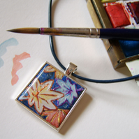 Handpainted blue leaf pendant