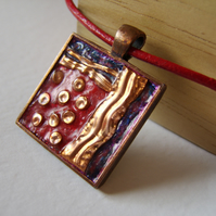 Embossed and painted red and blue copper necklace