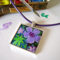Handpainted purple anemone flower pendant