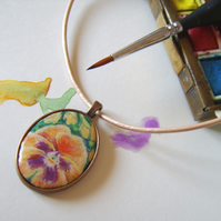Handpainted yellow pansy flower pendant