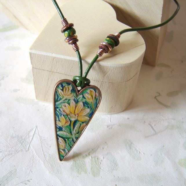 Hedgerow Heart – yellow and green hand painted necklace