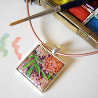 Handpainted peach and orange dahlia flower pendant