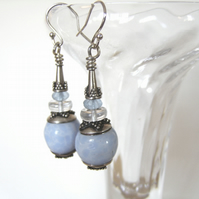 'Cool Blue' – Vintage blue bead and sterling silver earrings
