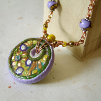 'Opulence' – Purple and green polymer clay and wirework necklace