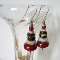 'Africa' – Red, black and cream earrings with sterling silver hooks