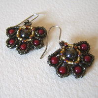 'Fandango' – Coral and Hematite woven bead earrings
