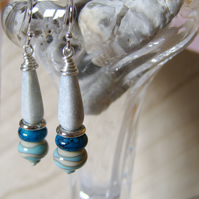 Sea Breeze' – Storm grey and blue long beaded earrings