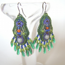 'Iris' – Green dangly bead embroidered earrings