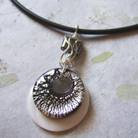 'Mono' – Black, white and silver necklace with wire wrap detail