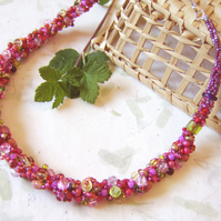 'Summer berries' Pink beaded kumihimo rope necklace