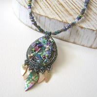 'Water Sprite' Bead embroidered necklace with shells and pearls