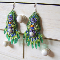 'Iris' – Green dangly bead embroidered statement earrings