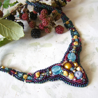'Blackberry Lane' Multicolour necklace with woven and embroidered beads