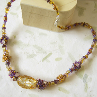 'Summer Honey' Nature inspired beadwork necklace