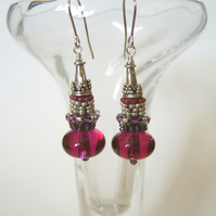 'Cranberry'  Pink glass and sterling silver boho style drop earrings