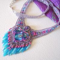 'La Bamba' Pink and sky blue bead embroidered necklace