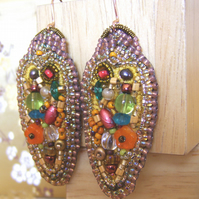 'Autumn Opulence' Bead embroidered statement earrings with orange flowers
