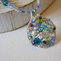'Turning Tide' - Blue and silver wirework and bead necklace
