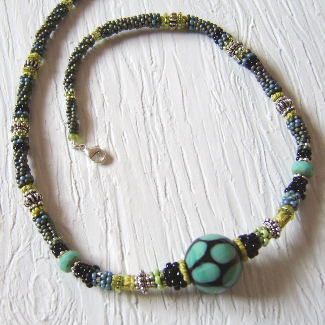'Naomi' Turquoise and lime green necklace with ceramic bead centrepiece