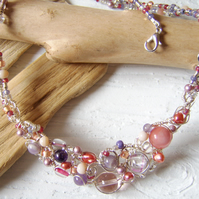 'Morgana' Amethyst and morganite woven wire and bead necklace