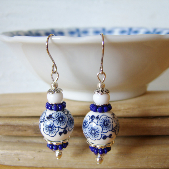 'Indigo blossom' Blue and white ceramic bead earrings