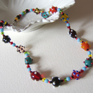 'Dotty' – Multicoloured glass bead necklace