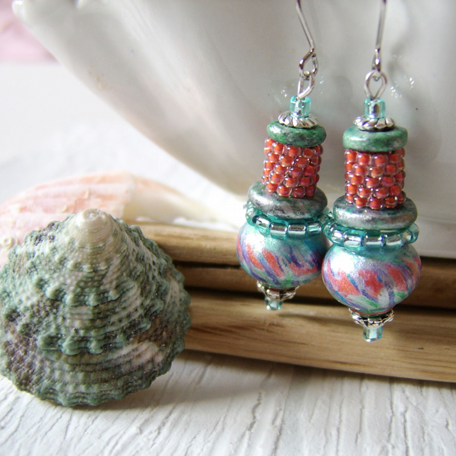 'Coral Splash' Handpainted wood and woven seed bead earrings